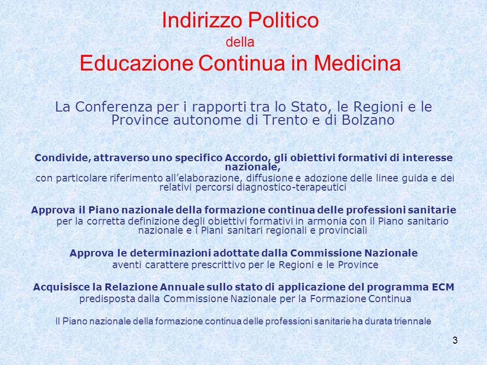 Indirizzo Politico della Educazione Continua in Medicina
