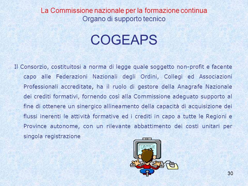 La Commissione nazionale per la formazione continua Organo di supporto tecnico COGEAPS