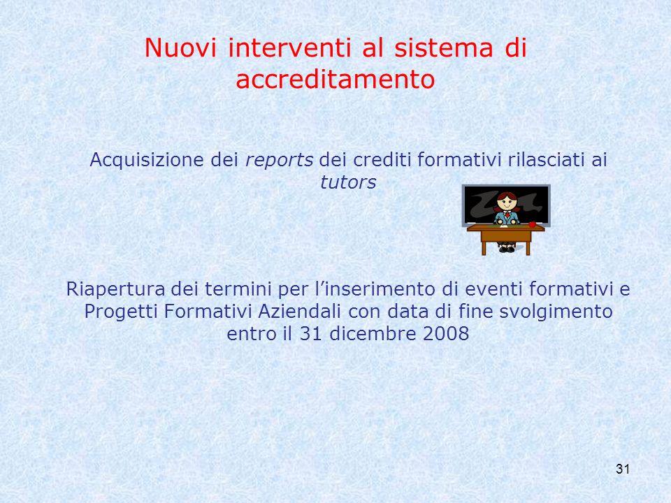Nuovi interventi al sistema di accreditamento