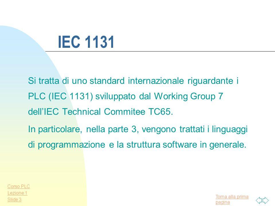 IEC 1131Si tratta di uno standard internazionale riguardante i PLC (IEC 1131) sviluppato dal Working Group 7 dell'IEC Technical Commitee TC65.