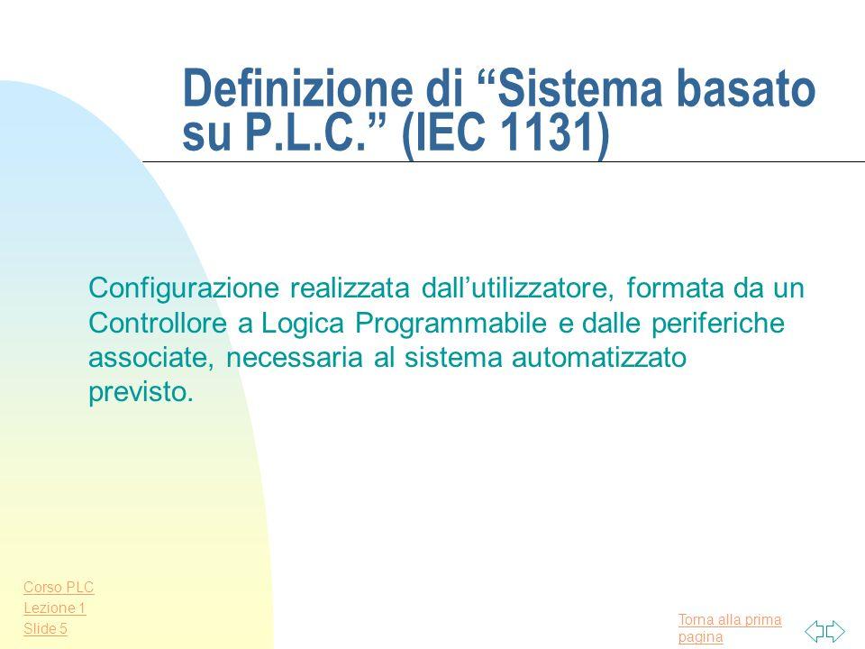 Definizione di Sistema basato su P.L.C. (IEC 1131)