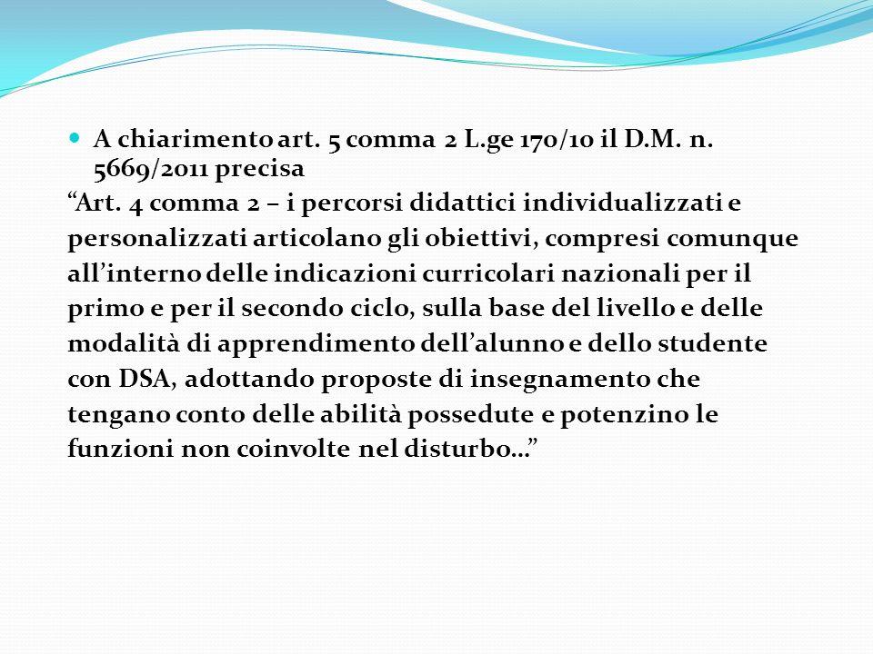 A chiarimento art. 5 comma 2 L.ge 170/10 il D.M. n. 5669/2011 precisa