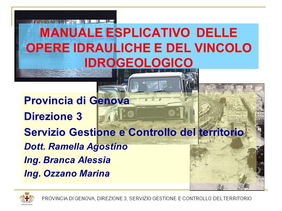 MANUALE ESPLICATIVO DELLE OPERE IDRAULICHE E DEL VINCOLO IDROGEOLOGICO