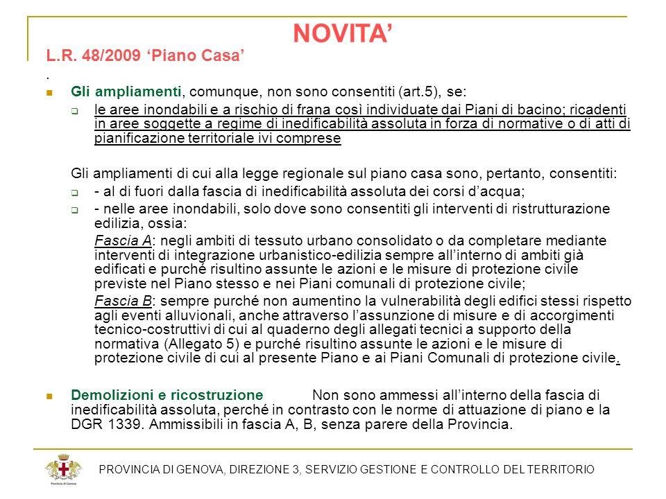 NOVITA' L.R. 48/2009 'Piano Casa' .