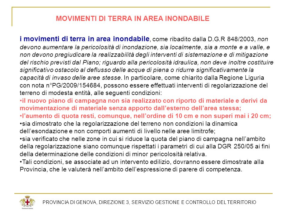 MOVIMENTI DI TERRA IN AREA INONDABILE
