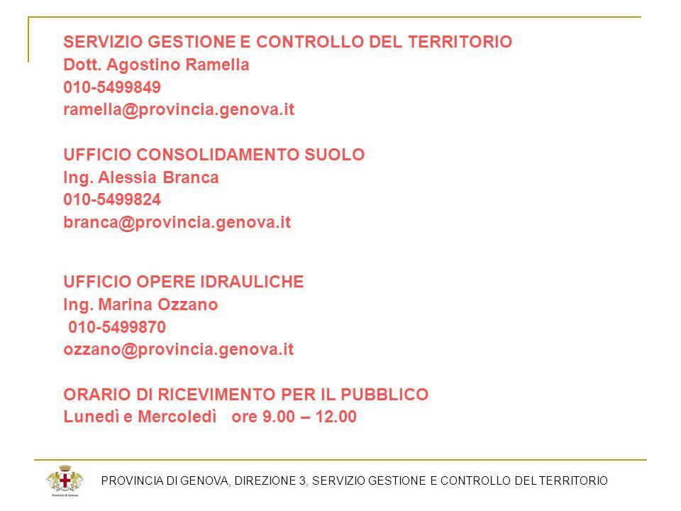 SERVIZIO GESTIONE E CONTROLLO DEL TERRITORIO Dott. Agostino Ramella