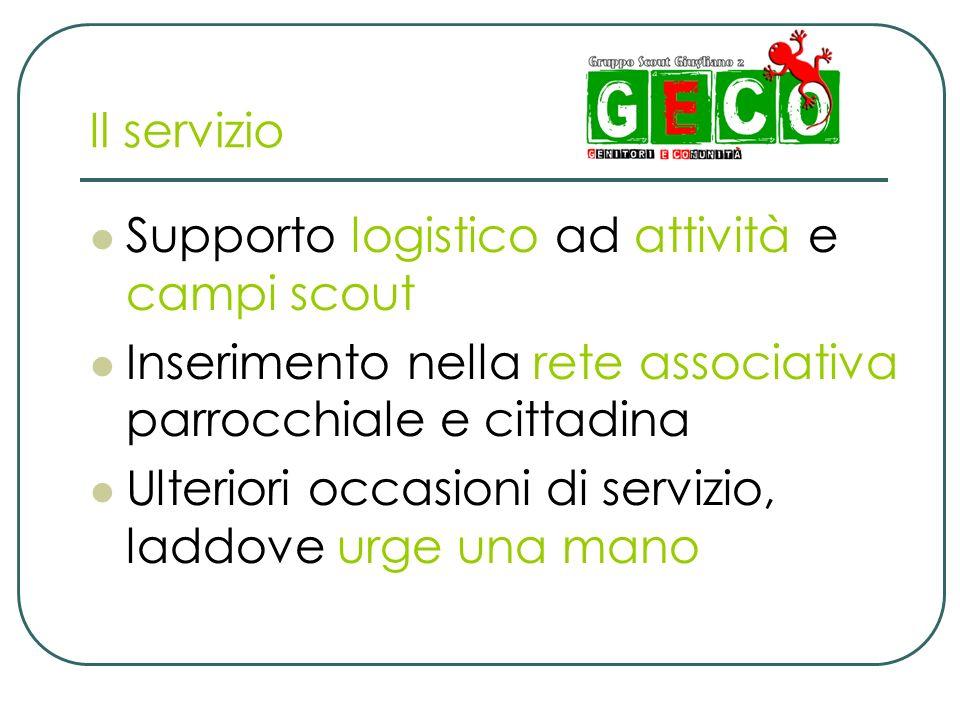 Il servizio Supporto logistico ad attività e campi scout. Inserimento nella rete associativa parrocchiale e cittadina.