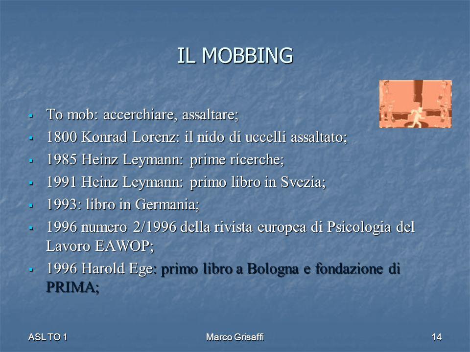 IL MOBBING To mob: accerchiare, assaltare;