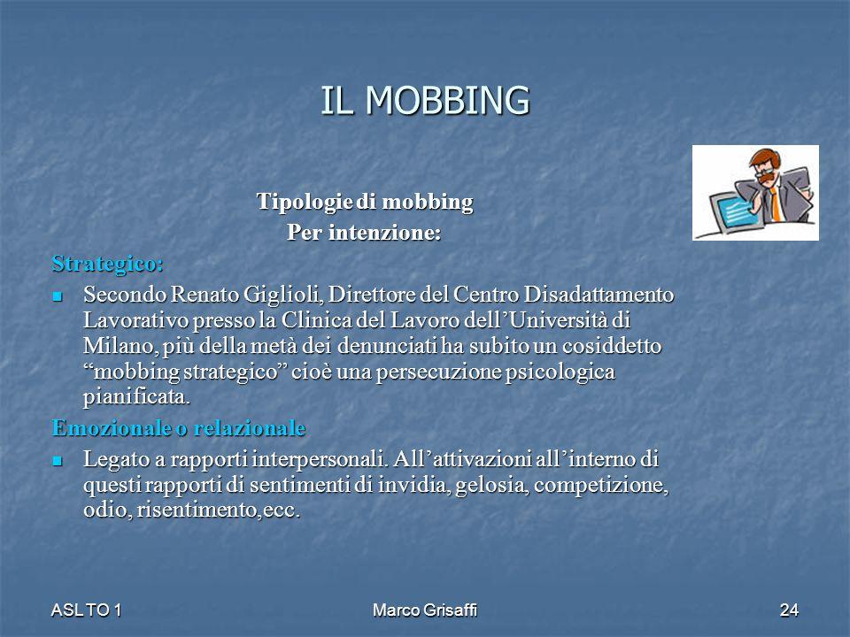 IL MOBBING Tipologie di mobbing Per intenzione: Strategico: