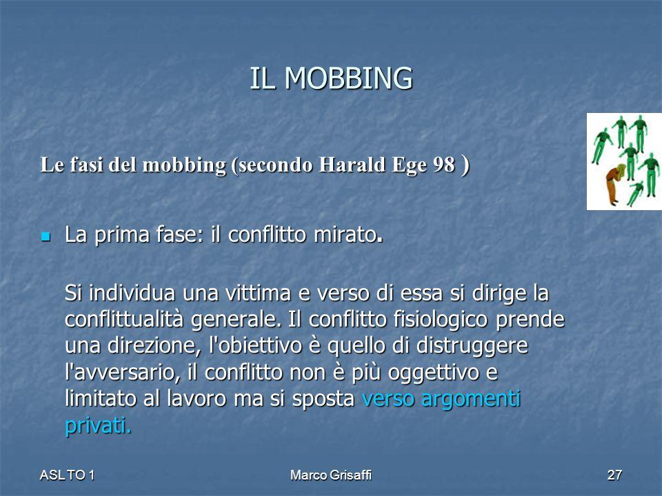 IL MOBBING Le fasi del mobbing (secondo Harald Ege 98 )