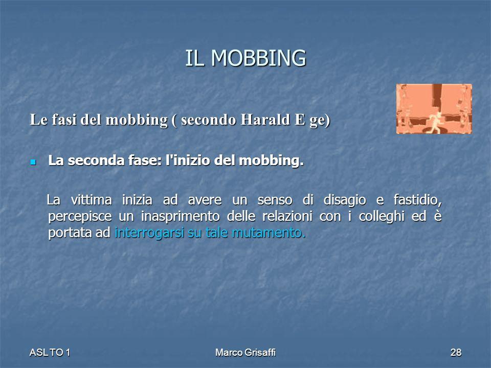 IL MOBBING Le fasi del mobbing ( secondo Harald E ge)