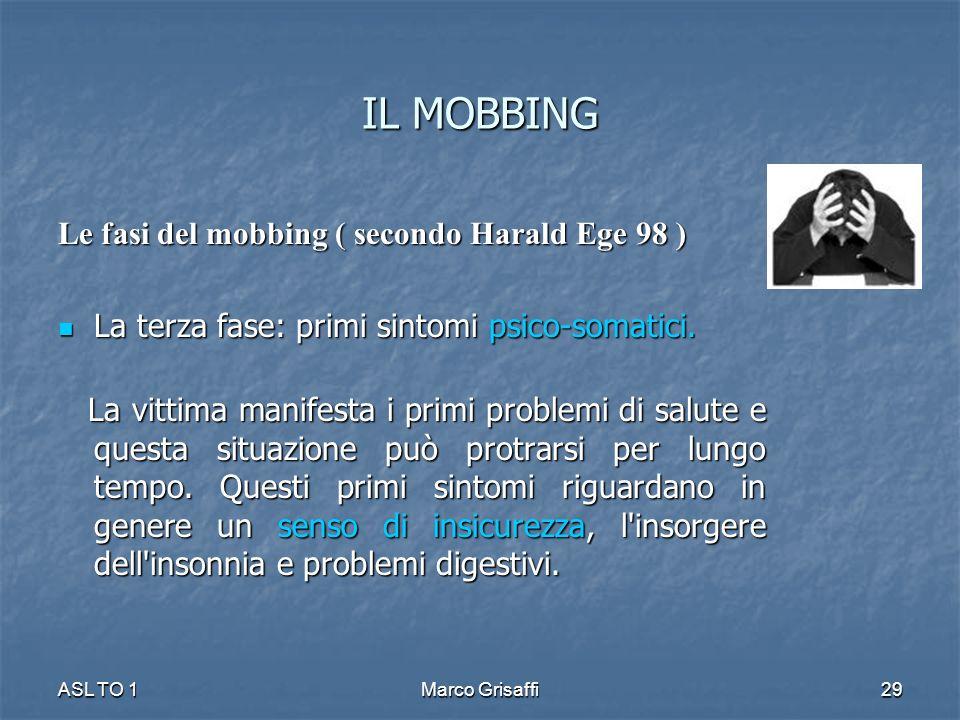 IL MOBBING Le fasi del mobbing ( secondo Harald Ege 98 )