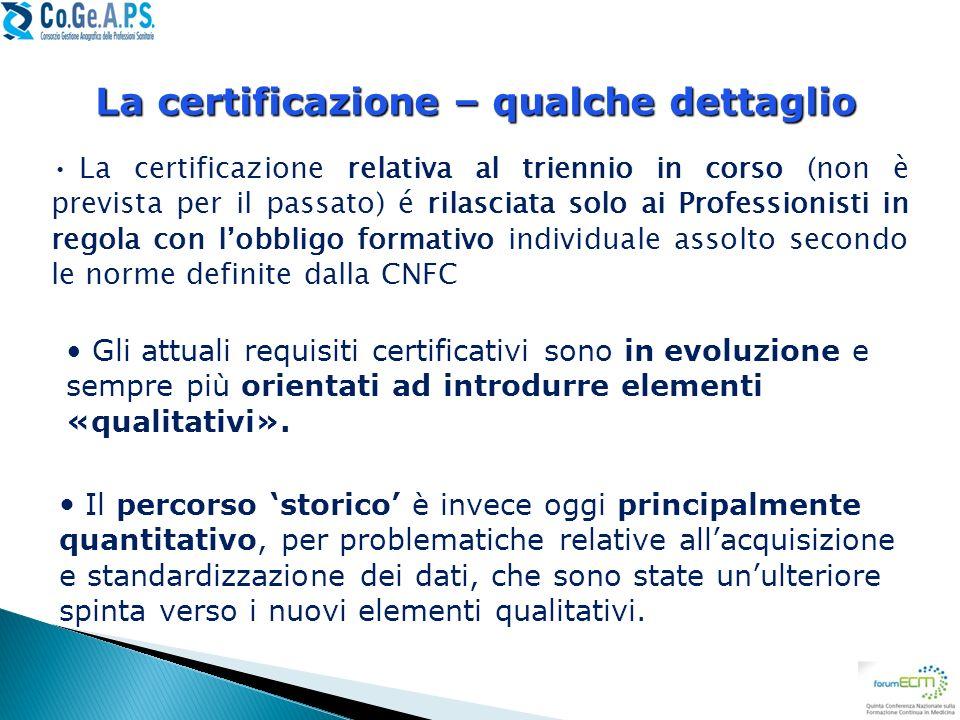 La certificazione – qualche dettaglio
