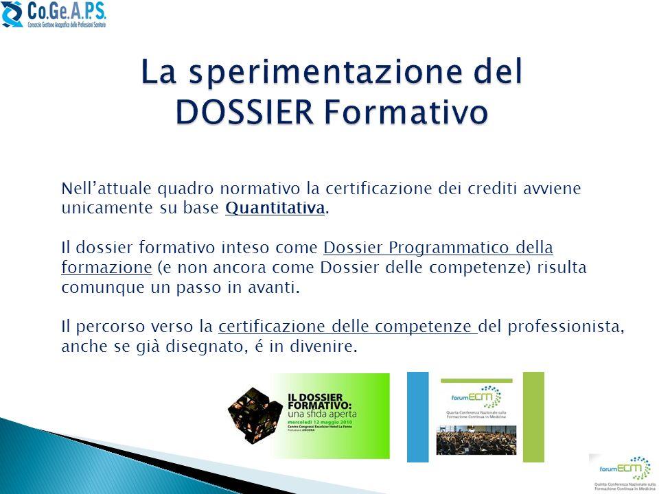 La sperimentazione del DOSSIER Formativo
