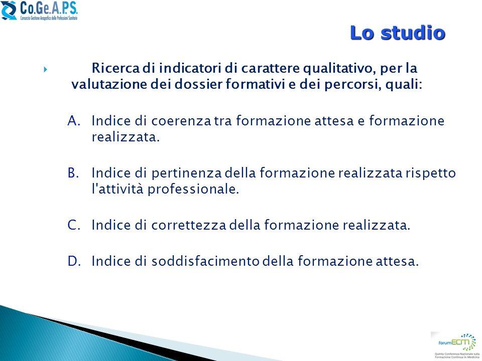 Lo studio Ricerca di indicatori di carattere qualitativo, per la valutazione dei dossier formativi e dei percorsi, quali: