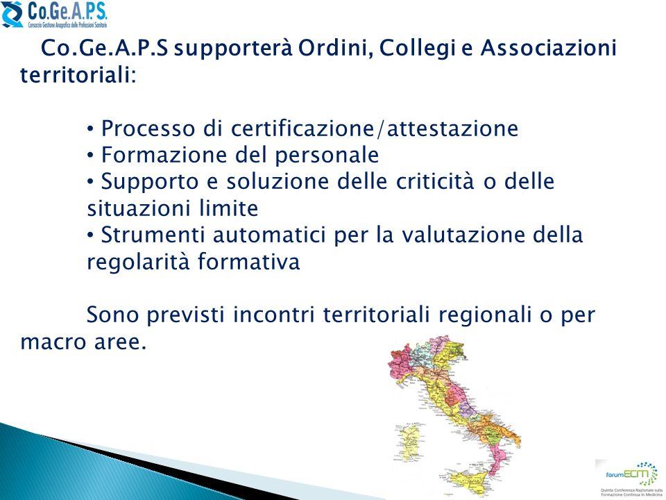 Co.Ge.A.P.S supporterà Ordini, Collegi e Associazioni territoriali: