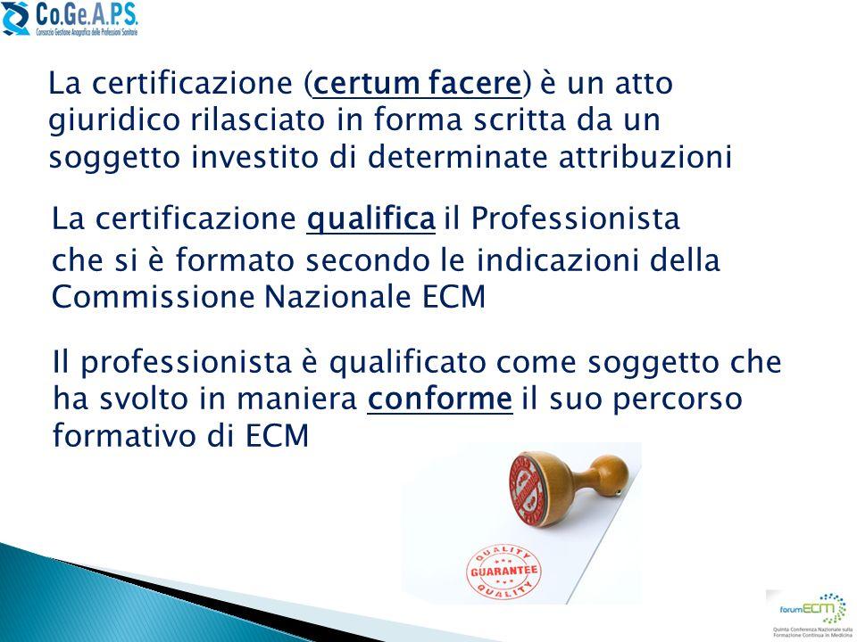 La certificazione (certum facere) è un atto giuridico rilasciato in forma scritta da un soggetto investito di determinate attribuzioni