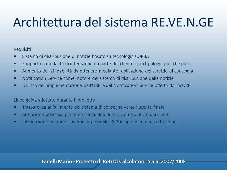 Architettura del sistema RE.VE.N.GE