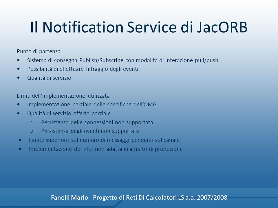 Il Notification Service di JacORB