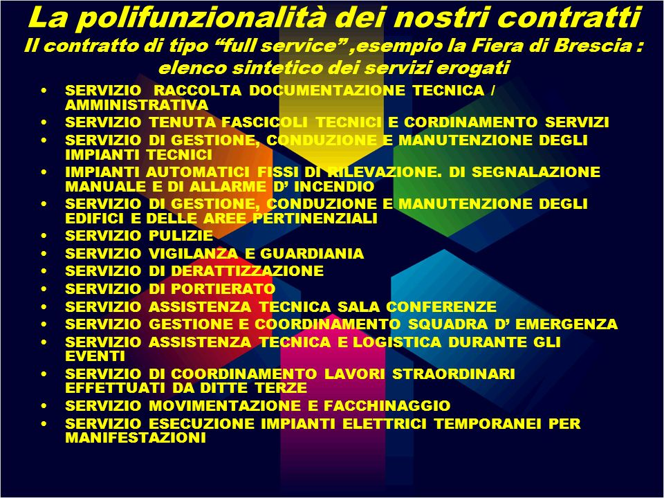 La polifunzionalità dei nostri contratti Il contratto di tipo full service ,esempio la Fiera di Brescia : elenco sintetico dei servizi erogati