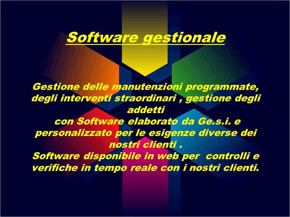 Software gestionale Gestione delle manutenzioni programmate, degli interventi straordinari , gestione degli addetti con Software elaborato da Ge.s.i.