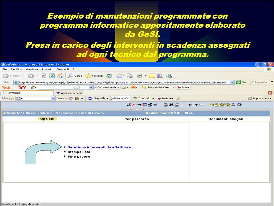 Esempio di manutenzioni programmate con programma informatico appositamente elaborato da GeSI.