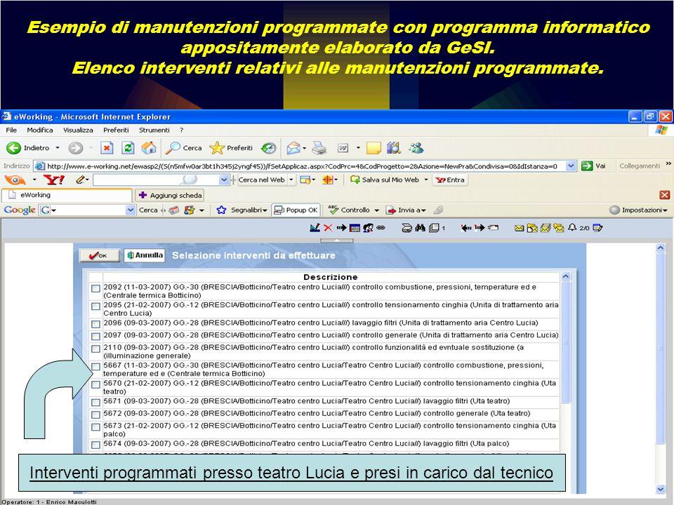 Elenco interventi relativi alle manutenzioni programmate.