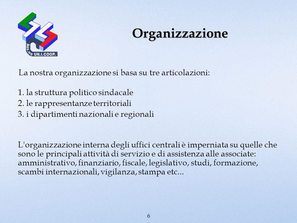 Organizzazione La nostra organizzazione si basa su tre articolazioni: