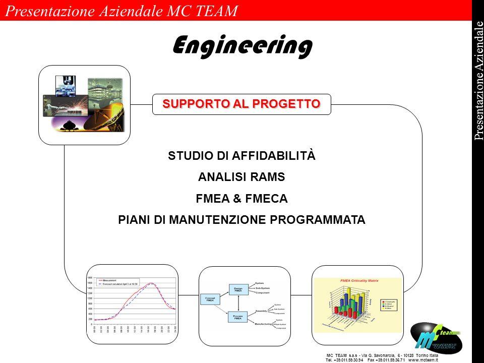 STUDIO DI AFFIDABILITÀ PIANI DI MANUTENZIONE PROGRAMMATA