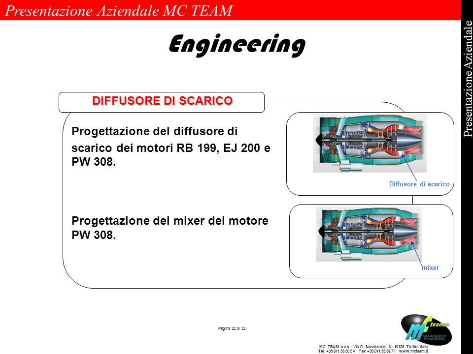 Engineering DIFFUSORE DI SCARICO. Progettazione del diffusore di scarico dei motori RB 199, EJ 200 e PW 308.