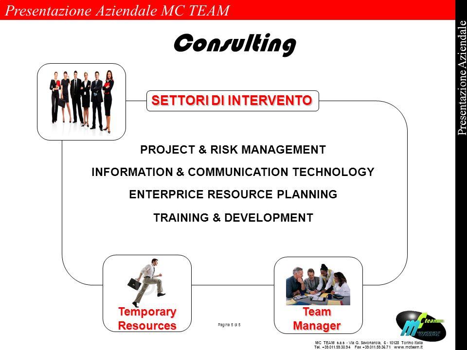 Consulting SETTORI DI INTERVENTO PROJECT & RISK MANAGEMENT