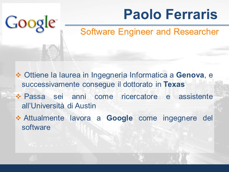 Paolo Ferraris Software Engineer and Researcher