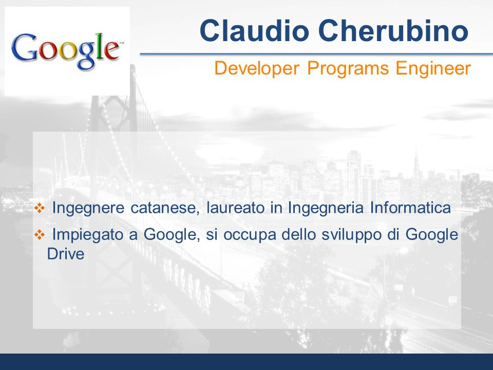Claudio Cherubino Developer Programs Engineer