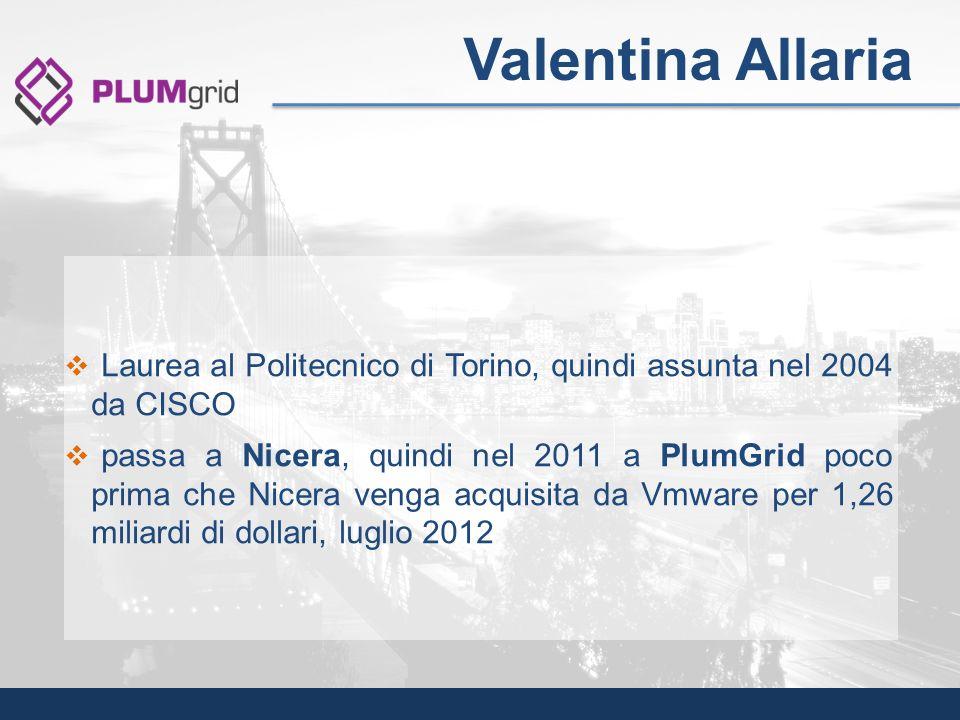 Valentina Allaria Laurea al Politecnico di Torino, quindi assunta nel 2004 da CISCO.