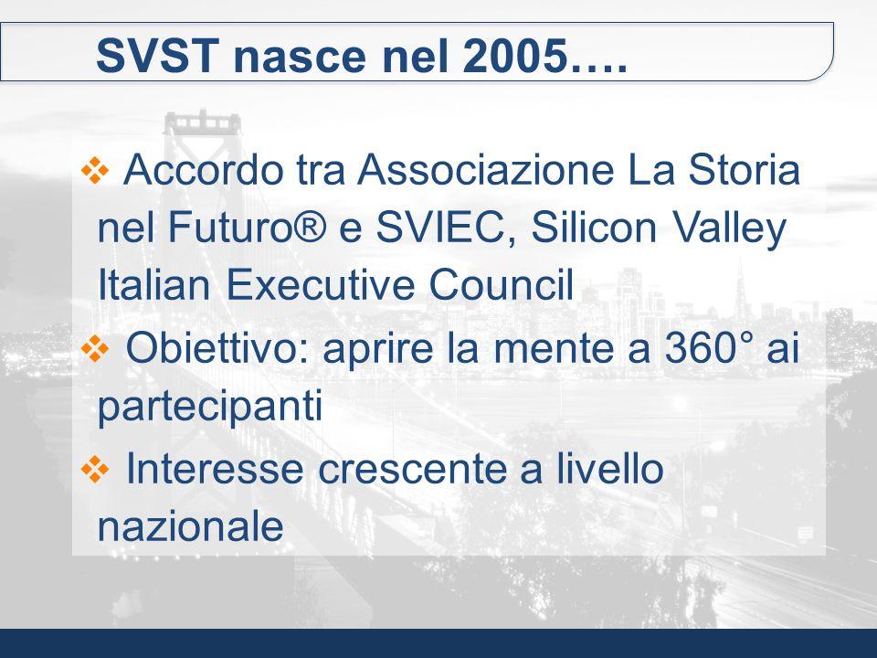 SVST nasce nel 2005…. Accordo tra Associazione La Storia nel Futuro® e SVIEC, Silicon Valley Italian Executive Council.