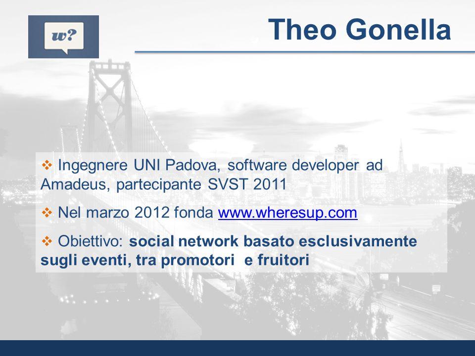 Theo Gonella Ingegnere UNI Padova, software developer ad Amadeus, partecipante SVST 2011. Nel marzo 2012 fonda www.wheresup.com.