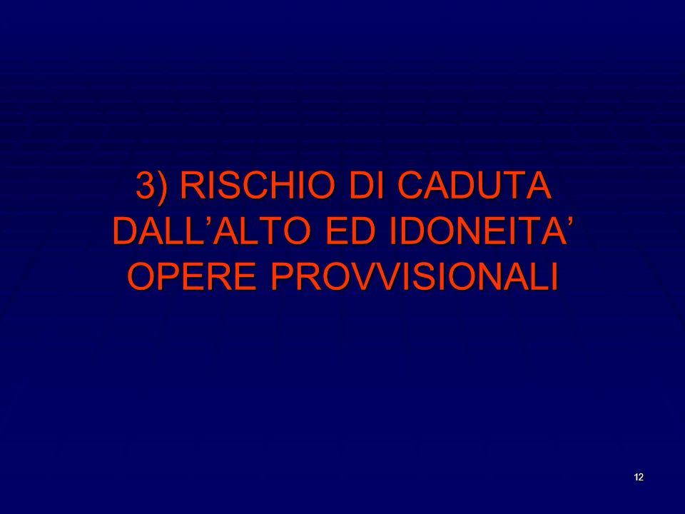 3) RISCHIO DI CADUTA DALL'ALTO ED IDONEITA' OPERE PROVVISIONALI