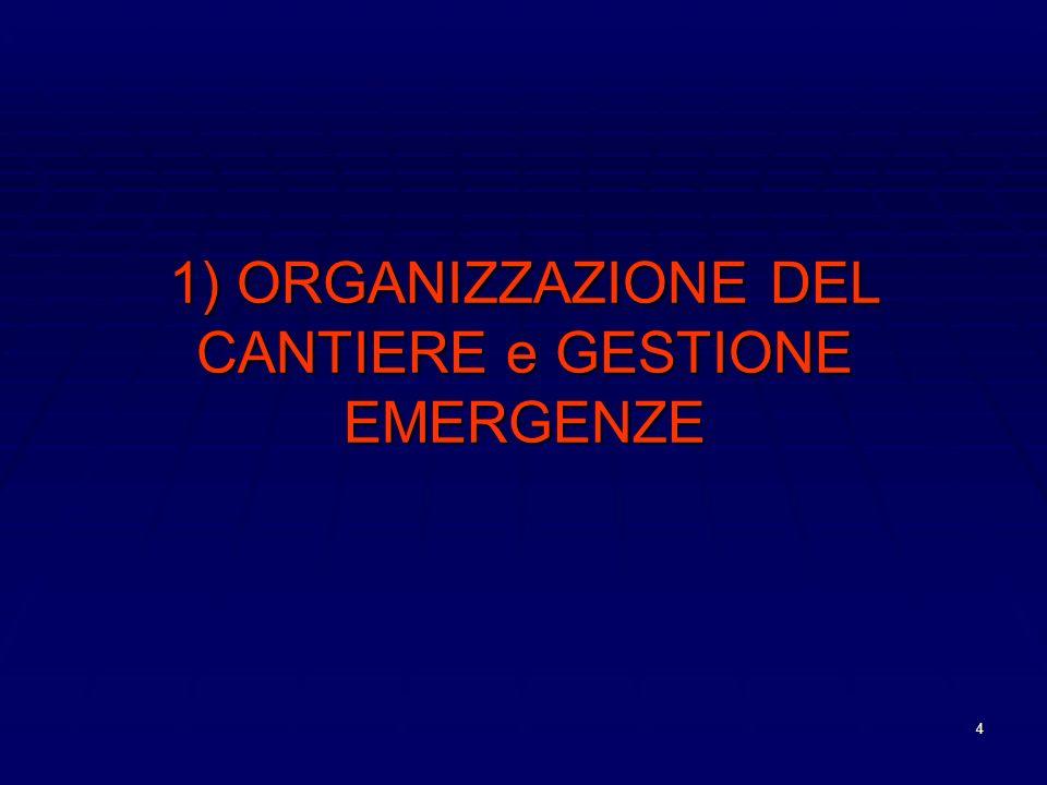 1) ORGANIZZAZIONE DEL CANTIERE e GESTIONE EMERGENZE