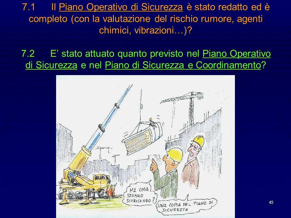 7.1 Il Piano Operativo di Sicurezza è stato redatto ed è completo (con la valutazione del rischio rumore, agenti chimici, vibrazioni…).