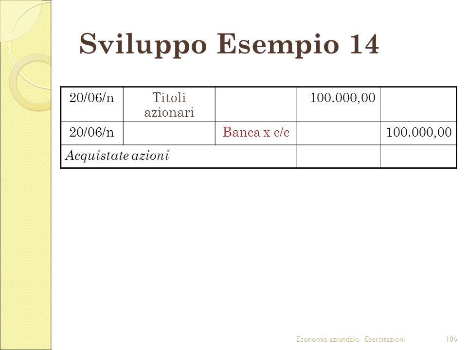 Sviluppo Esempio 14 20/06/n Titoli azionari 100.000,00 Banca x c/c