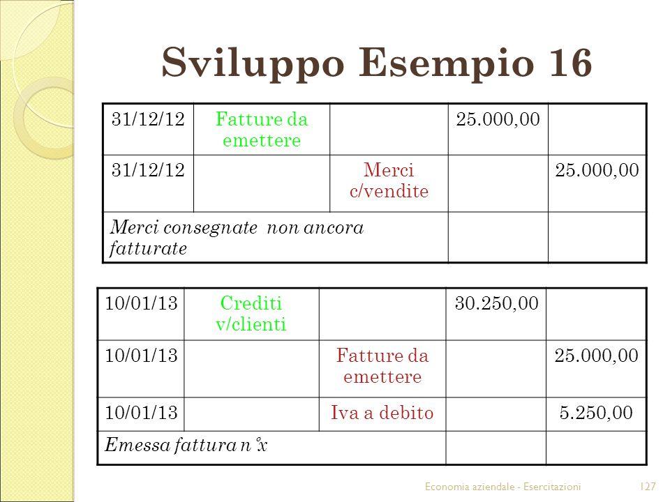 Sviluppo Esempio 16 31/12/12 Fatture da emettere 25.000,00