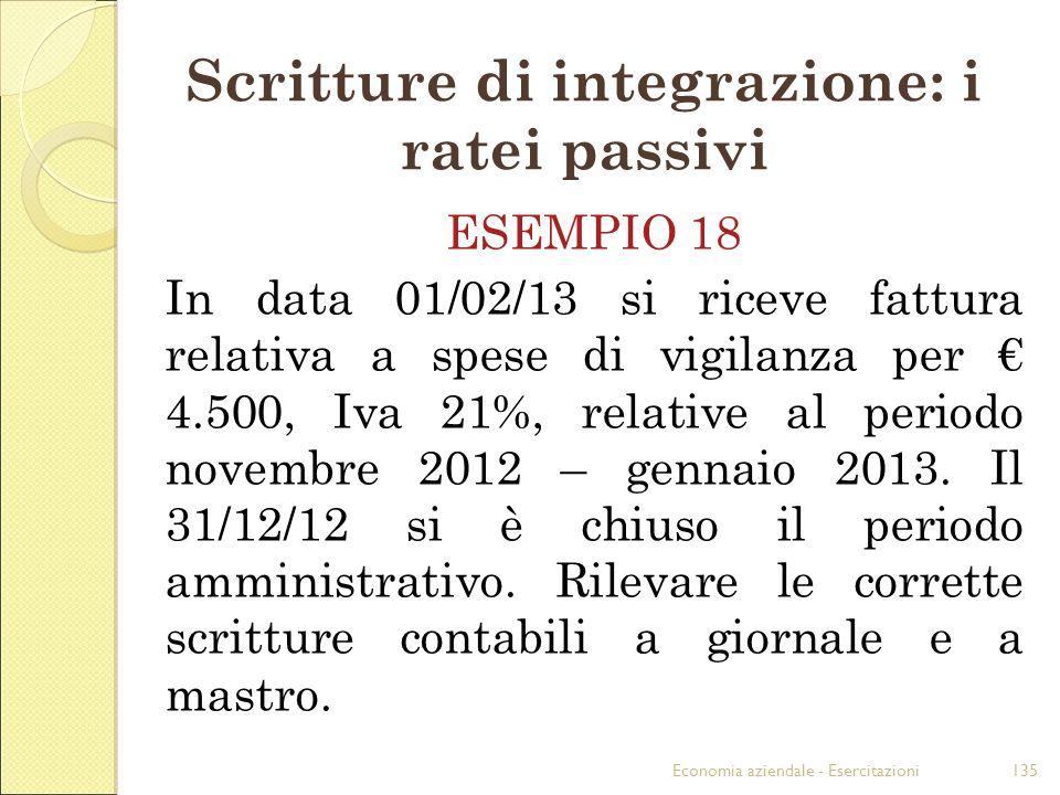 Scritture di integrazione: i ratei passivi