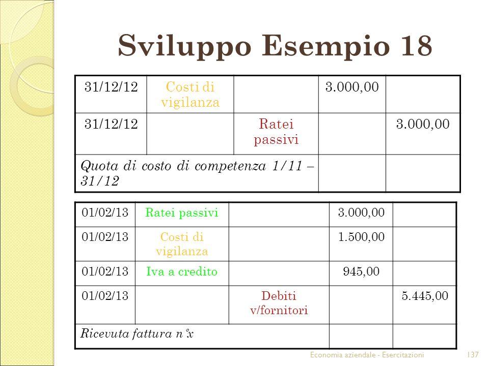 Sviluppo Esempio 18 31/12/12 Costi di vigilanza 3.000,00 Ratei passivi
