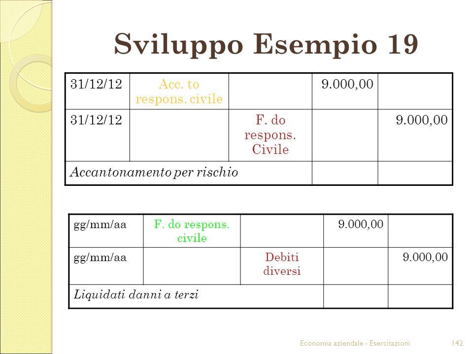 Sviluppo Esempio 19 31/12/12 Acc. to respons. civile 9.000,00