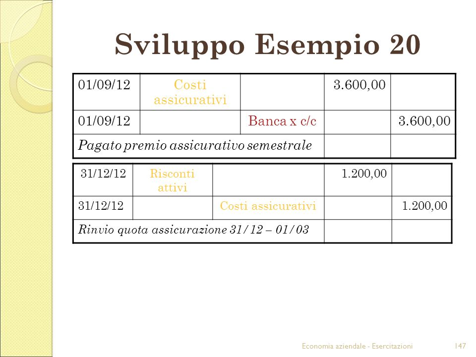 Sviluppo Esempio 20 01/09/12 Costi assicurativi 3.600,00 Banca x c/c