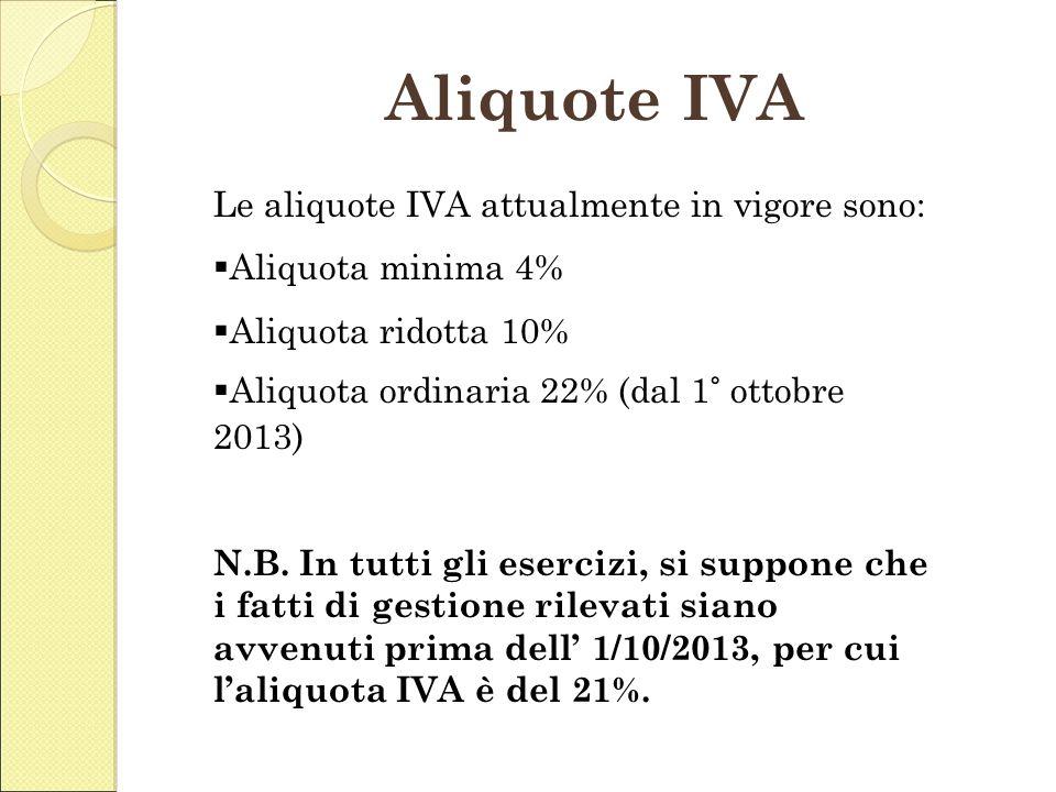 Aliquote IVA Le aliquote IVA attualmente in vigore sono: