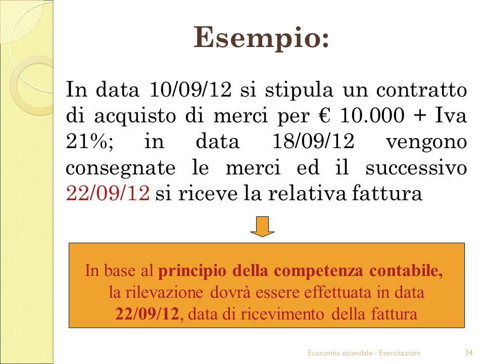 Esempio: In base al principio della competenza contabile,