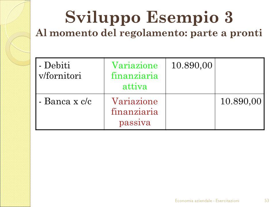 Sviluppo Esempio 3 Al momento del regolamento: parte a pronti