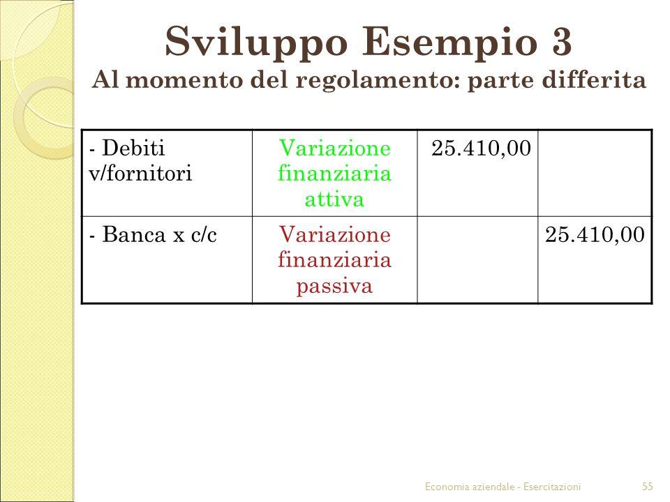 Sviluppo Esempio 3 Al momento del regolamento: parte differita