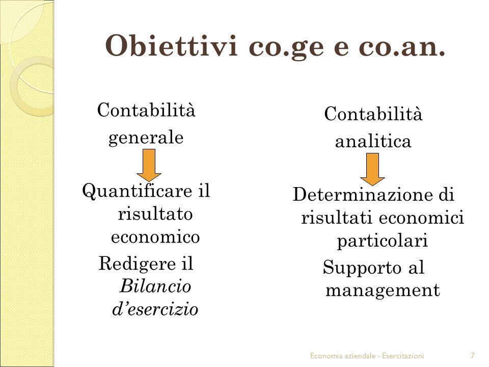 Obiettivi co.ge e co.an. Contabilità Contabilità generale analitica
